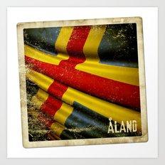 Grunge sticker of Aland Islands flag Art Print