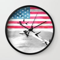 patriots Wall Clocks featuring United States Air Force(USAF) by MachoGifts