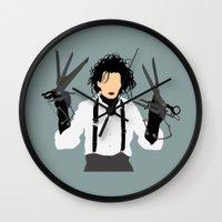 edward scissorhands Wall Clocks featuring edward scissorhands by Live It Up