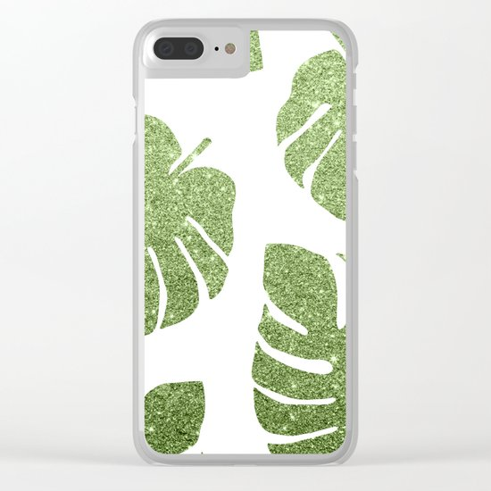 Glitter Monstera Leaves Clear iPhone Case