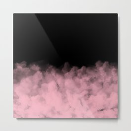 Black with Pink Smoke Minimal Metal Print