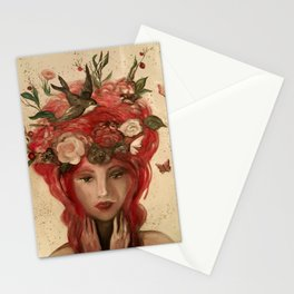 red haired green eyed Crimson Fairy with flowers butterflies and birds portrait Stationery Cards