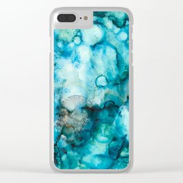 Blue Abstract Clear iPhone Case