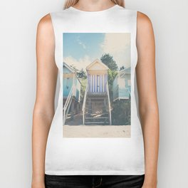beach huts photograph Biker Tank