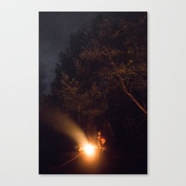 Night by campfire Canvas Print