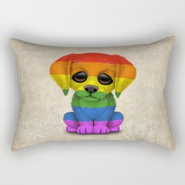 Cute Puppy Dog with Gay Pride Rainbow Flag Rectangular Pillow