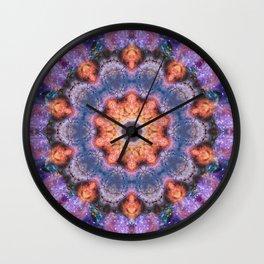 Peach Star Mandala Wall Clock