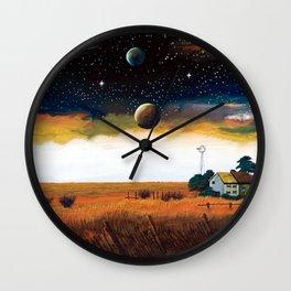 A spacecraft and earth number ... Prairie plain Wall Clock