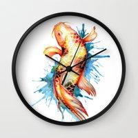 koi fish Wall Clocks featuring Koi Fish by Sam Nagel