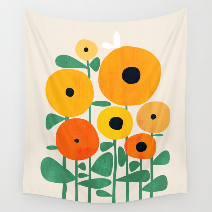 Sunflower and Bee Wall Tapestry