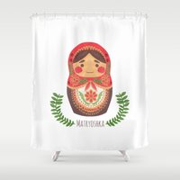 doll Shower Curtains featuring Matryoshka Doll by haidishabrina