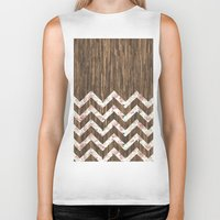 preppy Biker Tanks featuring Vintage Preppy Floral Chevron Pattern Brown Wood by Girly Road