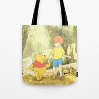 winnie the pooh Tote Bags featuring WINNIE THE POOH by DisPrints