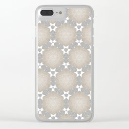 Grey Taupe Hexagon Star Pattern Clear iPhone Case