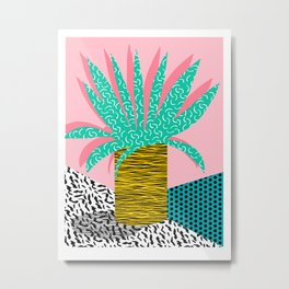 In the Mix - 80's neon house plant tropical garden container garden art print botanical natural  Metal Print