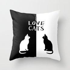 OPPOSITES LOVE: CATS Throw Pillow
