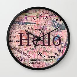 Hello in different languages travel quote Wall Clock