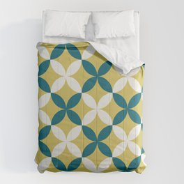 Off White, Dark Yellow and Tropical Dark Teal Inspired by Sherwin Williams 2020 Trending Color Oceanside SW6496 4 Leaf Minimal Flower Petal Pattern 2 Comforters
