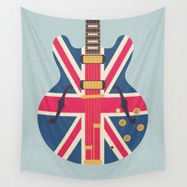 Union Jack Flag Guitar - Slate Wall Tapestry