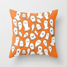 Ghosts on Orange Throw Pillow
