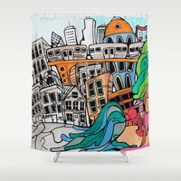 community Shower Curtains featuring Community by sam kirk