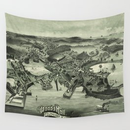 Vintage Pictorial Map of Woods Hole Falmouth MA (1887) Wall Tapestry