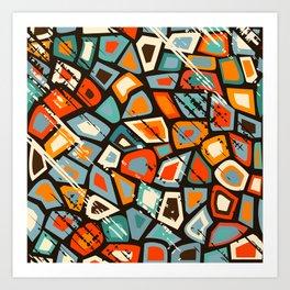 Grunge vintage mosaic Art Print