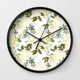 Modern yellow ivory green hand painted roses floral Wall Clock