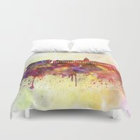 dublin Duvet Covers featuring Dublin skyline in watercolor background by Paulrommer