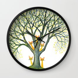Odessa Whimsical Cats in Tree Wall Clock