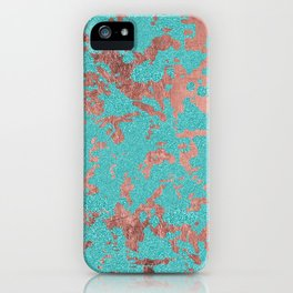 Modern turquoise glitter faux rose gold marble iPhone Case