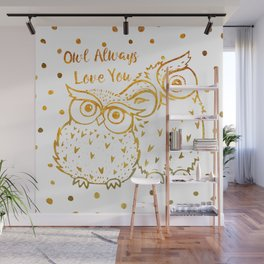 Owl Always Love You - Gold Wall Mural