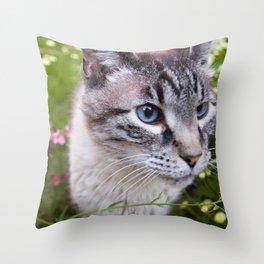kitty in secret garden Throw Pillow