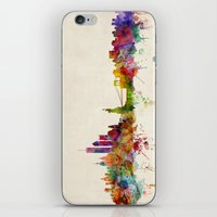 new york skyline iPhone & iPod Skins featuring New York City Skyline by artPause