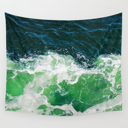 Green Ocean Waves Wall Tapestry