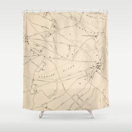 Vintage Boston George Washington Landmark Map (1932) Shower Curtain