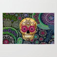 Sugar Skull Paisley Garden - Colorful Floral Sugar Skull Art Rug
