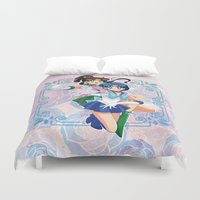 sailor jupiter Duvet Covers featuring Sailor Mercury and Sailor Jupiter by Neo Crystal Tokyo