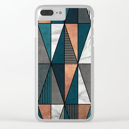 Copper, Marble and Concrete Triangles with Blue Clear iPhone Case