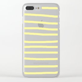 Simply Drawn Stripes in Pastel Yellow Clear iPhone Case