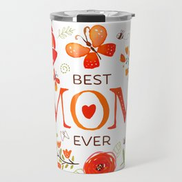 Mother's Day Watercolor Flowers and Butterflies Travel Mug