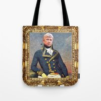 arsenal Tote Bags featuring Marshal Arsene Wenger by Iconografia