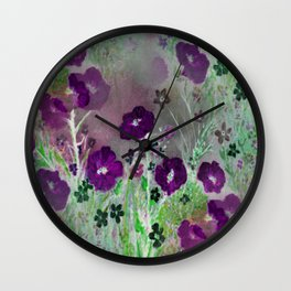 Magical Purple Flower Garden Wall Clock