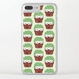 Hedgehogs disguised as cactuses Clear iPhone Case