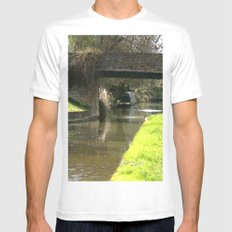 Canal Bridge in Newhampstonshire England MEDIUM White Mens Fitted Tee
