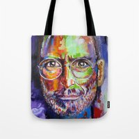 steve jobs Tote Bags featuring steve jobs by yossikotler