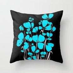 Plain blue flower Throw Pillow