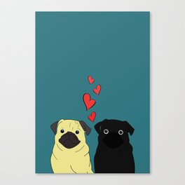 Pugs In Love Canvas Print