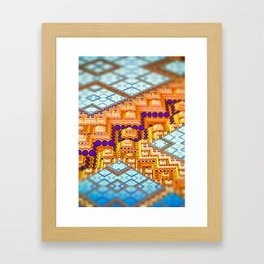infrastructure III. Blue and Orange Abstract Framed Art Print
