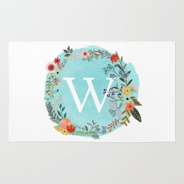 Personalized Monogram Initial Letter W Blue Watercolor Flower Wreath Artwork Rug